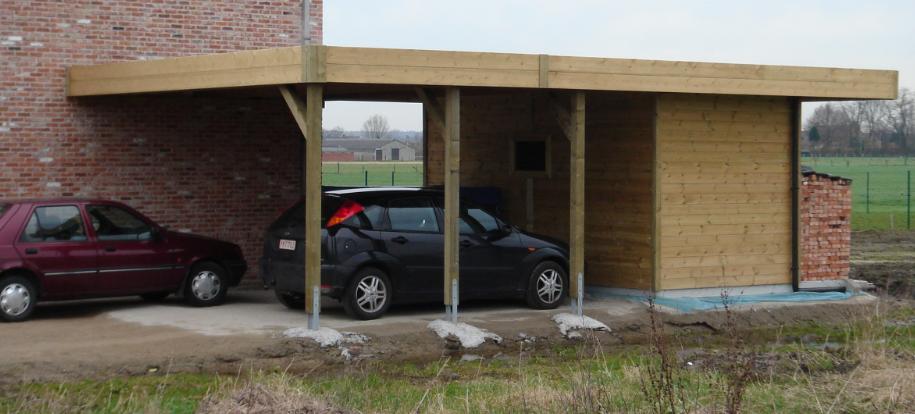 aanbouwcarport met ingebouwde berging carport