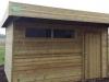 Tuinhuis plat dak met oversteek